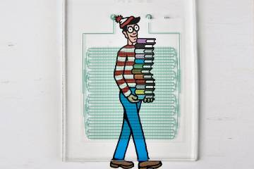 Waldo is displayed underneath a device that looks like a maze of tubes mounted on a board