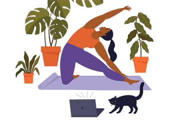 illustration of a woman doing yoga while watching a virtual class on a laptop