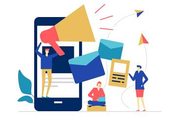 Illustration with cellphone, megaphone, and people working