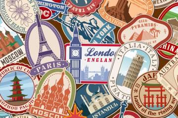 Illustrations of travel destinations around the world