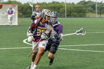 Iroquois Nationals players on the lacrosse field