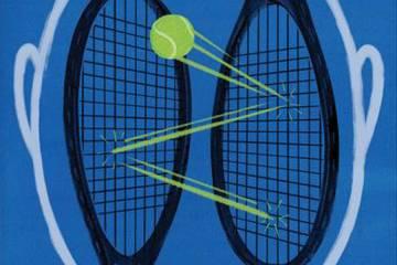 Illustration of tennis ball bouncing between two racquet heads