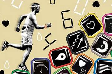 Illustration of various screens on fitness trackers