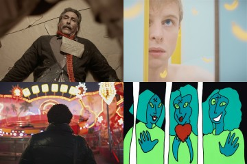 Stills from the short films (clockwise from top left) _Ernie_, _Apollon_, _Panic Attack!_, and _Gleichgewicht (Keeping Balance)_