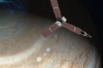Artist's depiction of Juno spacecraft approaching Jupiter
