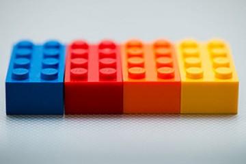 Multi color lego bricks