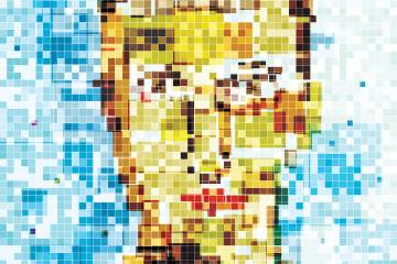 Illustration of a pixelated person's face
