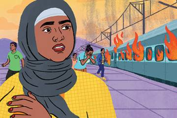 Illustration of a Muslim woman looking at a burning train