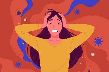 Illustration of stressed woman with hands on her head