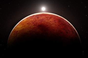 Artist's rendition of Mars shows the planet in silhouette against a tiny sun