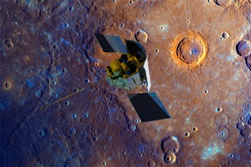 Messenger spacecraft orbits Mercury