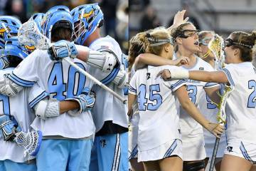 Composite image of men's and women's lacrosse teams celebrating in previous seasons before the pandemic began
