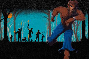 Illustration: Werewolf runs from angry mob of people with torches