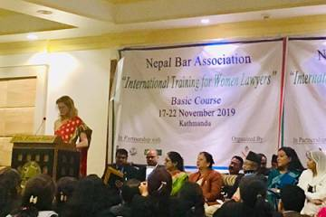 Lawyer Kristin Franceschi leads a women's professional development workshop in Nepal