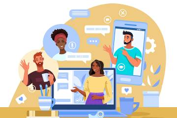 Illustration of people networking in various ways