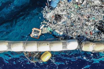 The Maker Buoy floating in the Great Pacific Garbage Patch