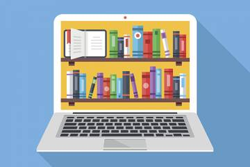 Illustration of a library on a computer