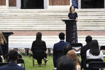 Lauren Gardner addresses a crowd of students