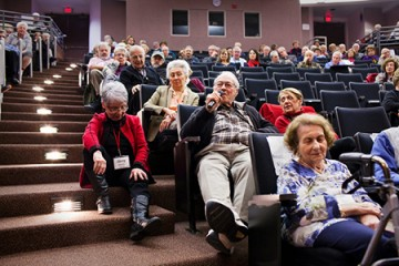 A group of seniors attend a lecture