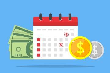 Illustration of calendar and money