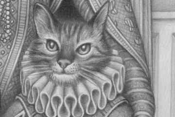 A sketch of a cat wearing an Elizabethan ruff