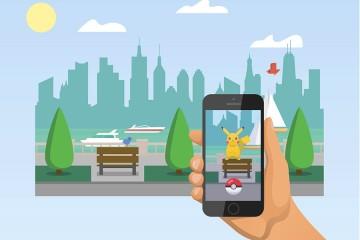 Illustration of someone holding phone, playing Pokémon Go