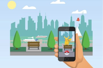 Illustration of someone holding phone, playing Pokémon Go
