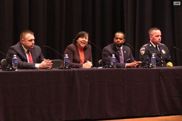 Panelists for the Future of Policing in America, from left: Linda Sarsour, Mark Puente, Margaret Huang, Nick Mosby, and Kevin Davis.