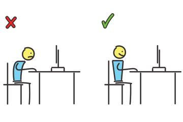 Illustration of right and wrong ways to sit at a desk
