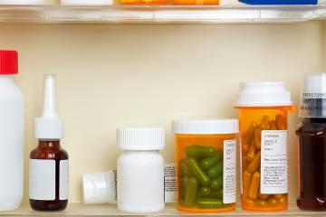 Bottles of prescription drugs inside a medicine chest
