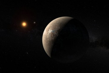 a brown planet is in the foreground and a dim orange star is in the background of this artist's rendering of Proxima Centauri b