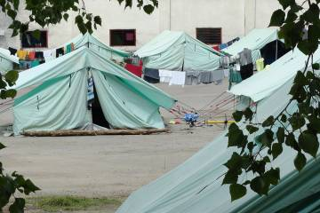 Tents in a military refugee camp in Greece