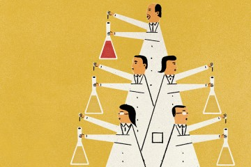 Illustration shows a pyramid of scientists dropping fluid into a beaker; the scientist at the top of the pyramid is dropping something red in