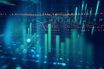Stock market investment graph on an abstract background
