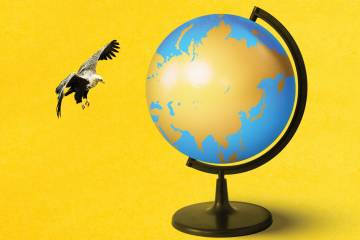 An eagle flying near a globe