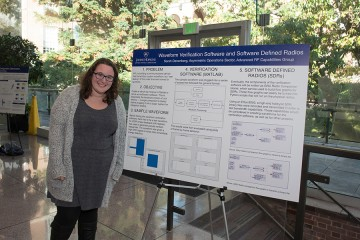 A young woman stands beside a massive poster on an easel that explains complicated research through data and graphs