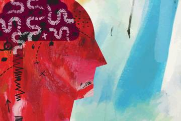 Illustration of a person with jumbled thoughts