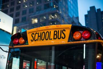 School bus in the city