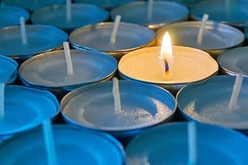Memorial candle burning