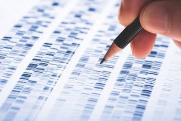 Pencil placed on print out of genetic information