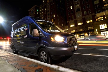 Blue Jay shuttle at night