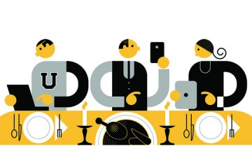Stylized illustration of family shopping on electronic devices at the Thanksgiving dinner table