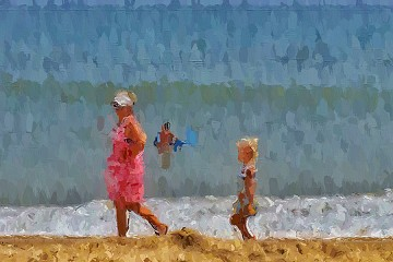 Beach walker photograph that looks like a painted canvas