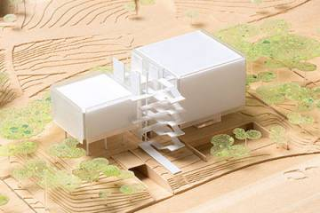 Model of future SNF Agora Institute building at Johns Hopkins University
