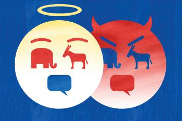 Illustration of an angel and a devil made of icons: a donkey, an elephant, and a dialog box