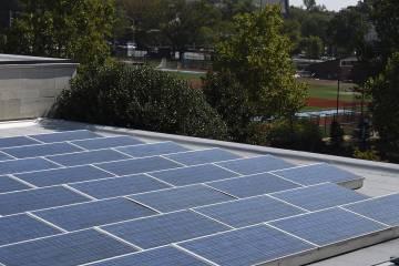 Solar panels on JHU's Homewood campus