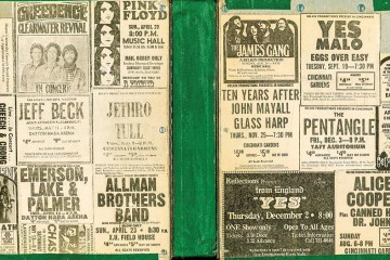 Collage of newspaper clippings includes ads for performances by Jethro Tull, Elton John, Cheech and Chong, Jeff Beck, Alice Cooper, many others