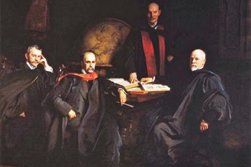 Oil painting depicts four men in robes and stoles