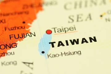Taiwan on globe
