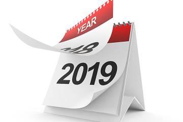 Calendar turning to 2019